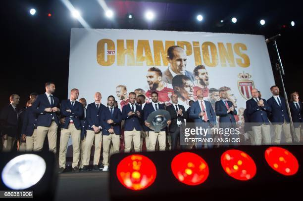 Monaco's French forward Valere Germain Polish defender Kamil Glik Portuguese midfielder Joao Moutinho Colombian forward Radamel Falcao and Russian...