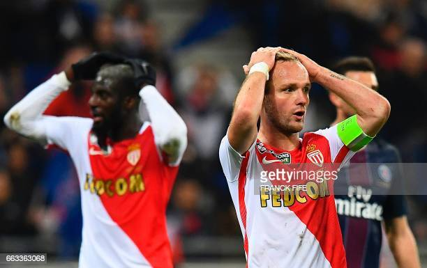 Monaco's French forward Valere Germain reacts after missing a goal opportunity during the French League Cup final football match between Paris...
