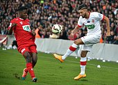 Monaco's French Ivorian midfielder Tiemoue Bakayoko vies with Nimes French defender Jeremy Cordoval during the French Cup football match Nimes vs...