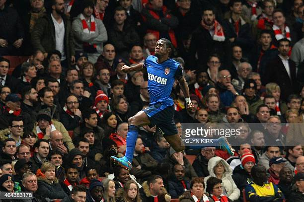 Monaco's French midfielder Geoffrey Kondogbia celebrates scoring the opening goal during the UEFA Champions League round of 16 first leg football...