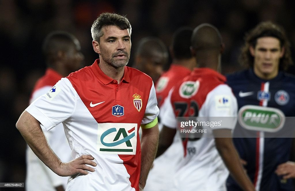 Monaco's French midfielder <a gi-track='captionPersonalityLinkClicked' href=/galleries/search?phrase=Jeremy+Toulalan&family=editorial&specificpeople=4321622 ng-click='$event.stopPropagation()'>Jeremy Toulalan</a> (L) reacts during the French Cup football match between Paris Saint-Germain (PSG) and Monaco on February 4, 2015 at the Parc des Princes stadium in Paris. Paris won 2-0.