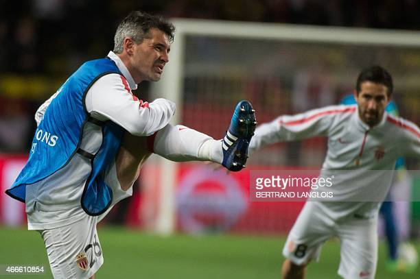 Monaco's French midfielder Jeremy Toulalan warms up prior to the UEFA Champions League football match Monaco vs Arsenal on March 17 2015 at Louis II...