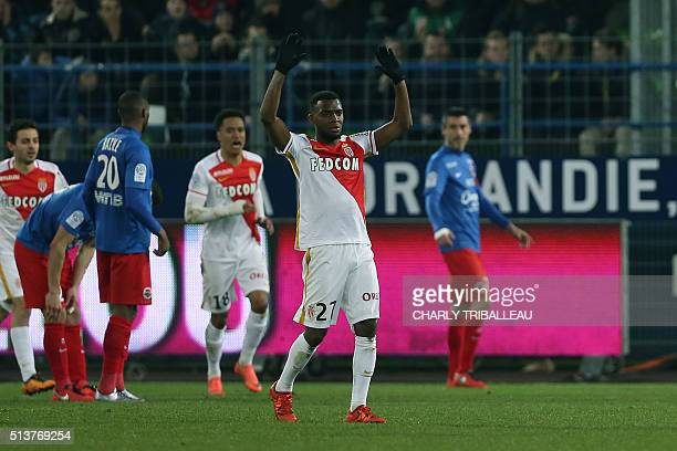 Monaco's French midfielder Thomas Lemar celebrates after scoring a free kick during the French L1 football match between Caen and Monaco on March 4...