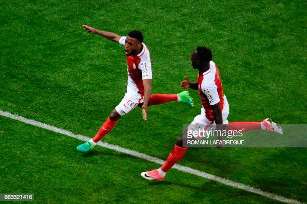 Monaco's French midfielder Thomas Lemar celebrates after scoring a goal during the French League Cup final football match between Paris SaintGermain...