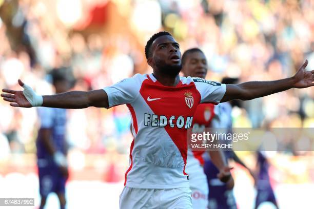 Monaco's French midfielder Thomas Lemar celebrates after scoring a goal during the French L1 football match Monaco vs Toulouse on April 29 2017 at...