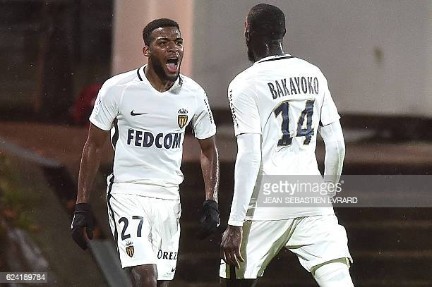 Monaco's French midfielder Thomas Lemar celebrates after scoring during the French L1 football match between Lorient and Monaco on November 18 2016...