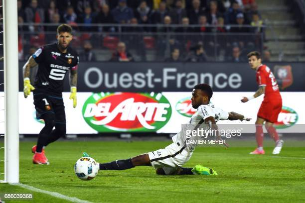 Monaco's French midfielder Thomas Lemar misses a goal opportunity during the French L1 football match between Rennes and Monaco on May 20 2017 at the...