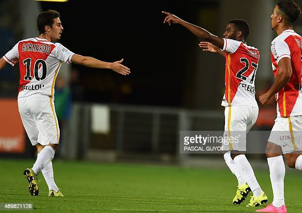 Monaco's French midfielder Thomas Lemar reacts after scoring a goal during the French L1 football match between MHSC Montpellier and Monaco on...
