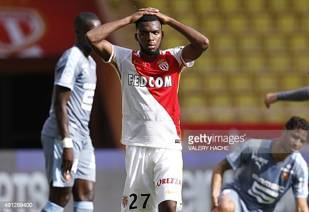 Monaco's French midfielder Thomas Lemar reacts at the end of the French L1 football match Monaco vs Rennes on October 4 2015 at the Louis II Stadium...