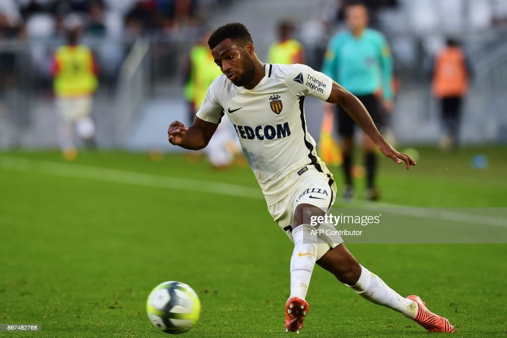 Monaco's French midfielder Thomas Lemar runs with the ball during the French L1 football match between Bordeaux and Monaco on October 28, 2017 at the Matmut Atlantique stadium in Bordeaux, southwestern France. /