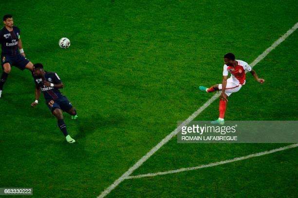 Monaco's French midfielder Thomas Lemar shoots and scores a goal during the French League Cup final football match between Paris SaintGermain and...