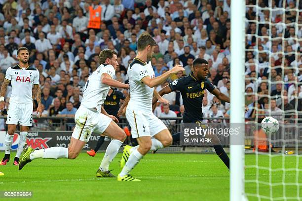 Monaco's French midfielder Thomas Lemar shoots and scores during the UEFA Champions League group E football match between Tottenham Hotspur and...