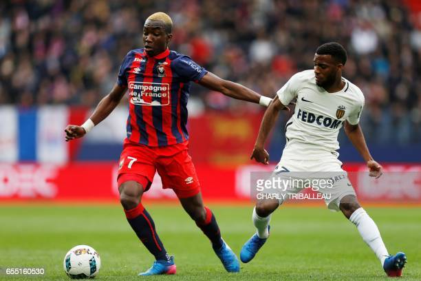 Monaco's French midfielder Thomas Lemar vies with Caen's French forward Yann Karamoh during the French L1 football match between Caen and Monaco on...
