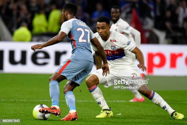 Monaco's French midfielder Thomas Lemar vies with Lyon's Dutch defender Kenny Tete during the French L1 football match Lyon vs Monaco on October 13...