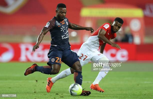 Monaco's French midfielder Thomas Lemar vies with Montpellier's French midfielder Stephane Sessegnon during the French L1 football match Monaco vs...