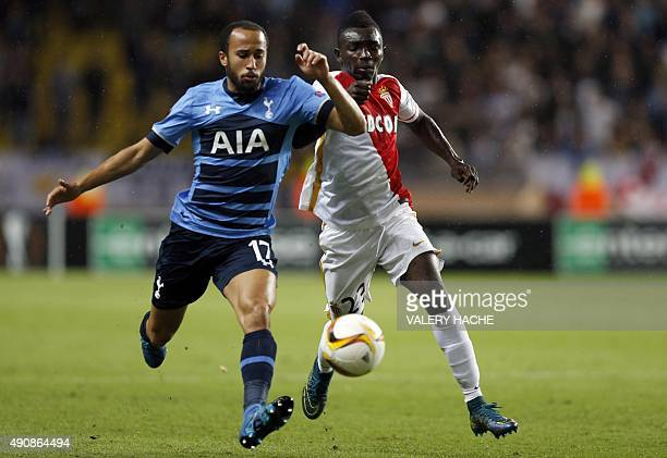 Monaco's French midfielder Thomas Lemar vies with Tottenham Hotspur's English midfielder Andros Townsend during the UEFA Europa League group J...