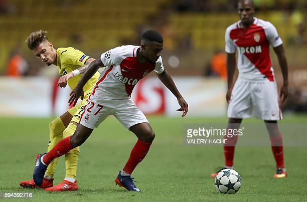 Monaco's French midfielder Thomas Lemar vies with Villarreal's midfielder Samuel Castillejo during the UEFA Champions League second leg play off...