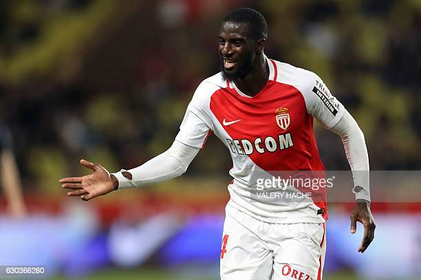 Monaco's French midfielder Tiemoue Bakayoko celebrates after scoring a goal during the French L1 football match between Monaco and Caen on December...