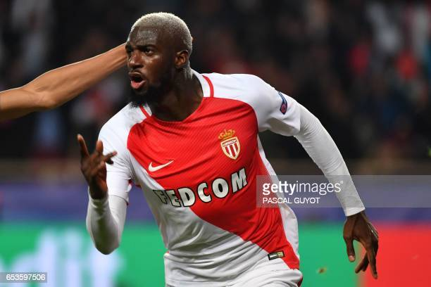 Monaco's French midfielder Tiemoue Bakayoko celebrates after scoring a goal during the UEFA Champions League round of 16 football match between...