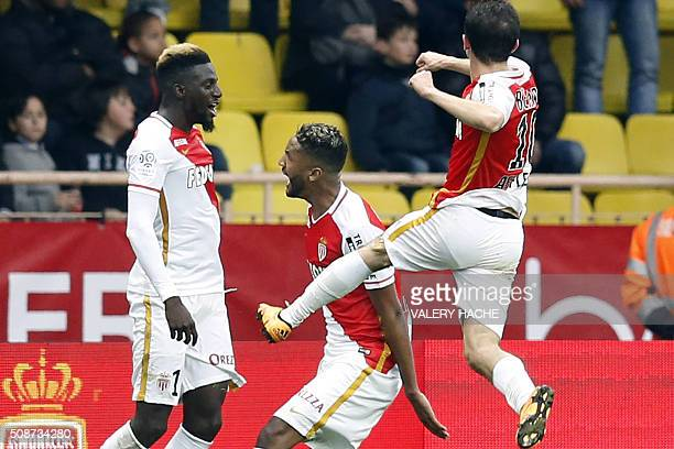 Monaco's French Midfielder Tiemoue Bakayoko celebrates with teammates after scoring a goal during the French L1 football match between Monaco and...