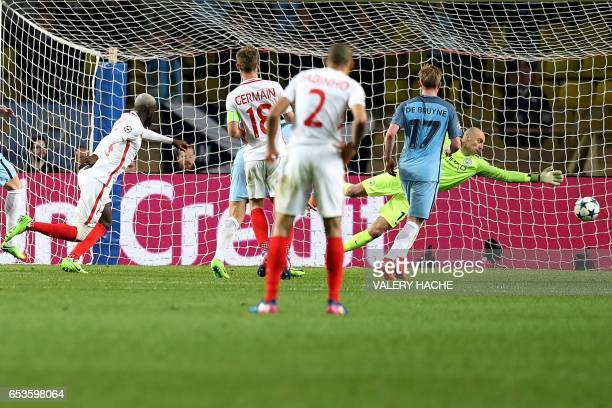Monaco's French midfielder Tiemoue Bakayoko scores a goal past Manchester City's Argentinian goalkeeper Willy Caballero during the UEFA Champions...