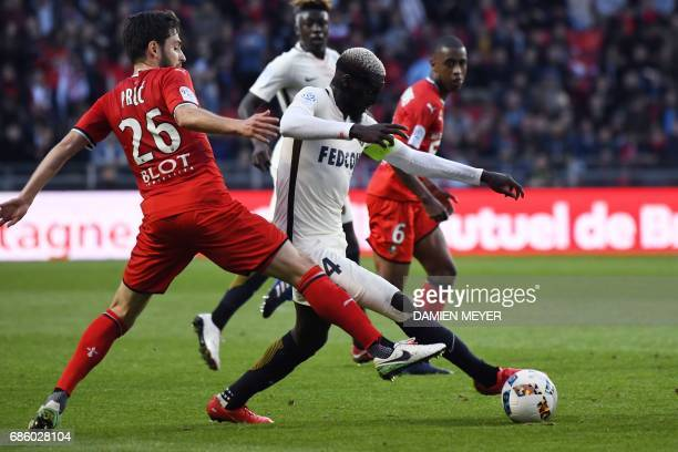 Monaco's French midfielder Tiemoue Bakayoko vies with Rennes' French midfielder Sanjin Prcic during the French L1 football match between Rennes and...