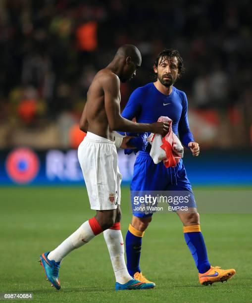 Monaco's Geoffrey Kondogbia swaps shirts with Juventus' Andrea Pirlo at half time