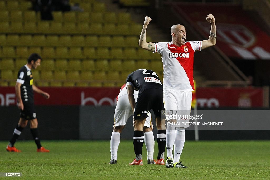 Monaco's Italian defender Andrea Raggi celebrates after his team won their French L1 football match against Angers at Louis II stadium in Monaco on...