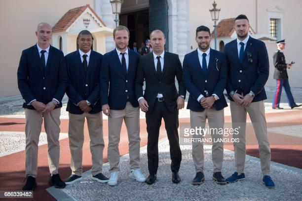 Monaco's Italian defender Andrea Raggi Monaco's French forward Kylian Mbappe Monaco's French forward Valere Germain Monaco's Portuguese coach...