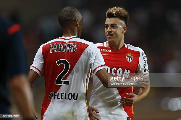 Monaco's Italian forward Stephan El Shaarawy celebrates after scoring a goal with Monaco's Brazilian defender Fabinho during the UEFA Champions...