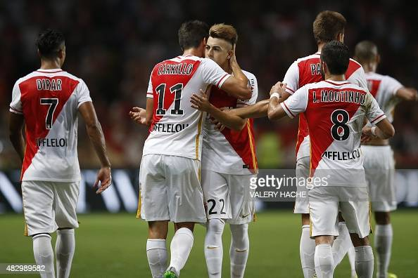 Monaco's Italian forward Stephan El Shaarawy celebrates after scoring a goal during the UEFA Champions League third qualifying round football match...
