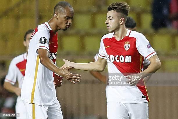 Monaco's Italian forward Stephan El Shaarawy celebrates after scoring a goal with Monaco's Brazilian defender Fabinho during the UEFA Europa League...