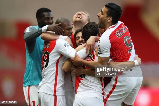 Monaco's IvorianFrench defender Tiemoue Bakayoko Monaco's French defender Djibril Sidibe Monaco's polish defender Kamil Glik Monaco's Portuguese...