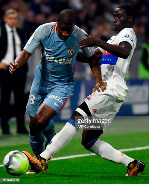 Monaco's Malian defender Almamy Toure vies with Lyon's French defender Ferland Mendy during the French L1 football match between Lyon and Monaco on...
