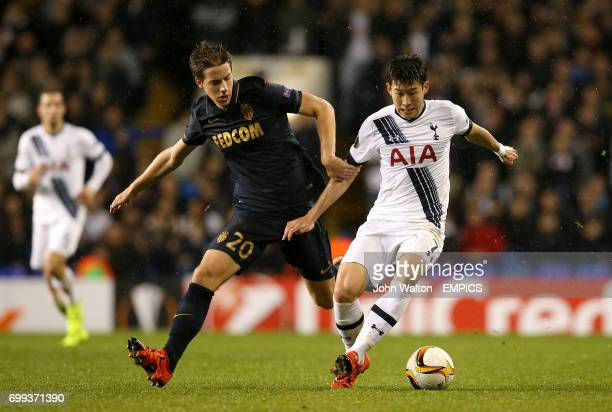 AS Monaco's Mario Pasalic and Tottenham Hotspur's Son HeungMin battle for the ball