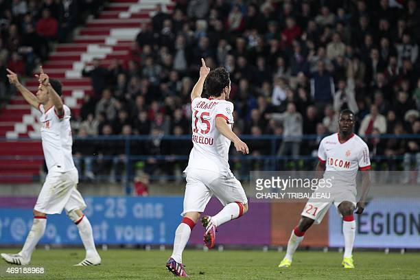 Monaco's midfielder Bernardo Silva celebrates after socring a goal during the French L1 football match between Caen and Monaco on April 10 2015 at...
