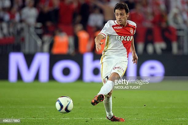 Monaco's midfielder Bernardo Silva kicks the ball during the French L1 football match between Bordeaux and Monaco at the Matmut Atlantique stadium in...