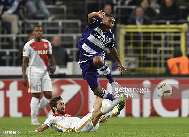 Monaco's midfielder Joao Moutinho vies with Anderlecht's midfielder Youri Tielemans during their UEFA Europa League football match at the Constant...