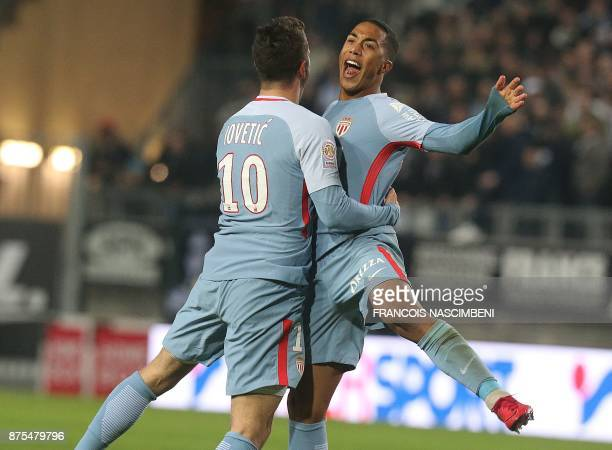 Monaco's Montenegrin forward Stevan Jovetic celebrates with Monaco's Belgian midfielder Youri Tielemans after scoring a goal during the French L1...