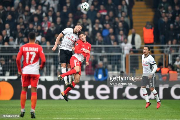 Monaco's Montenegrin forward Stevan Jovetic vies with Besiktas' Serbian defender Dusko Tosic during the UEFA Champions League Group G football match...