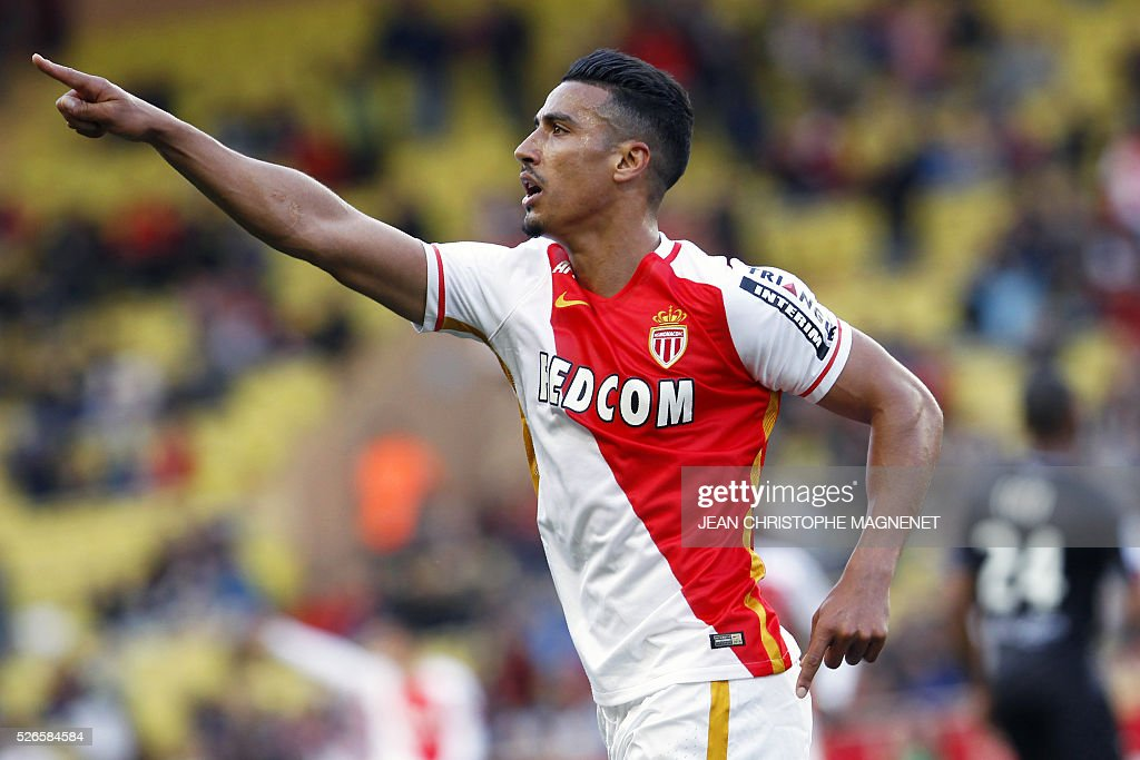 Monaco's Moroccan midfielder Nabil Dirar celebrates after scoring a goal during the French L1 football match Monaco (ASM) vs Guingamp (EAG) on April 30, 2016, at the Louis II stadium in Monaco.