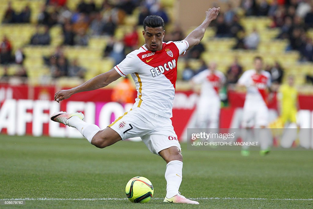 Monaco's Moroccan midfielder Nabil Dirar scores a goal during the French L1 football match Monaco (ASM) vs Guingamp (EAG) on April 30, 2016, at the Louis II stadium in Monaco.