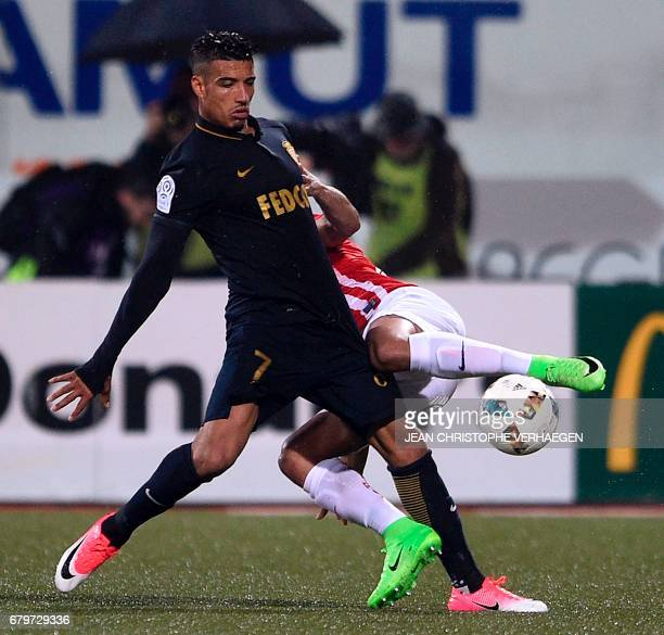 Monaco's Moroccan midfielder Nabil Dirar vies for the ball during the French Ligue 1 football match between Nancy and Monaco on May 6 2017 at Marcel...
