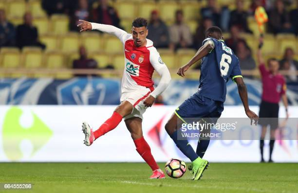 Monaco's Moroccan midfielder Nabil Dirar vies with Lille's French midfielder Ibrahim Amadou during the French Cup football match between Monaco vs...