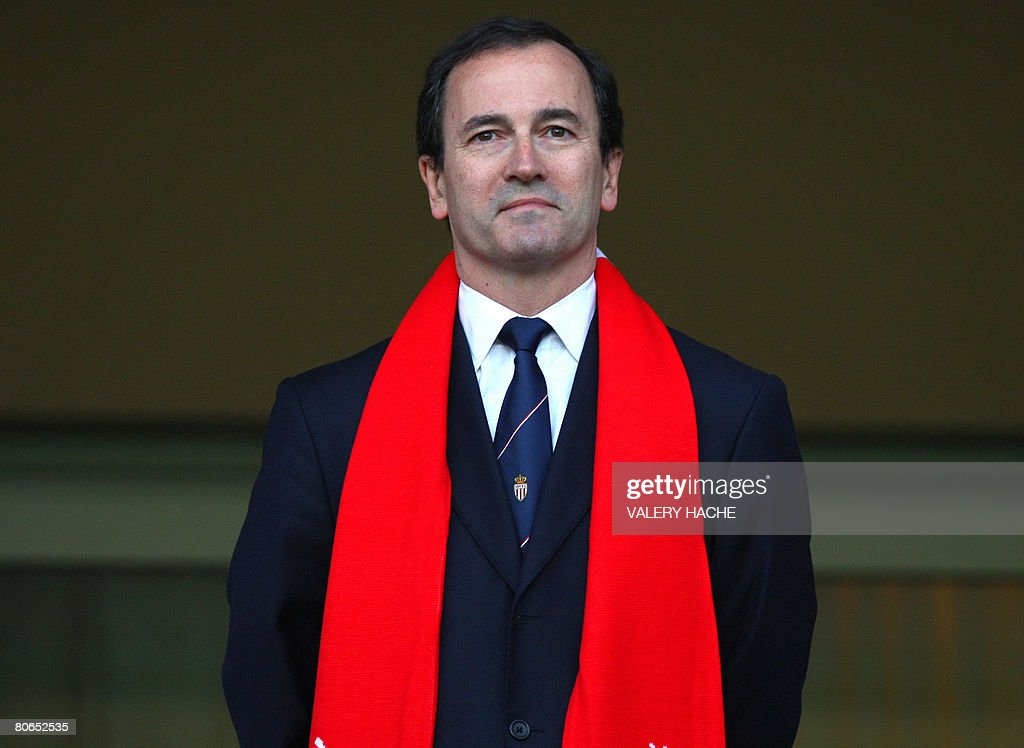 AS Monaco's new president Jerome De Bontin watches his players before the French L1 football match Monaco vs Toulouse on April 12 2008 at the 'Louis...