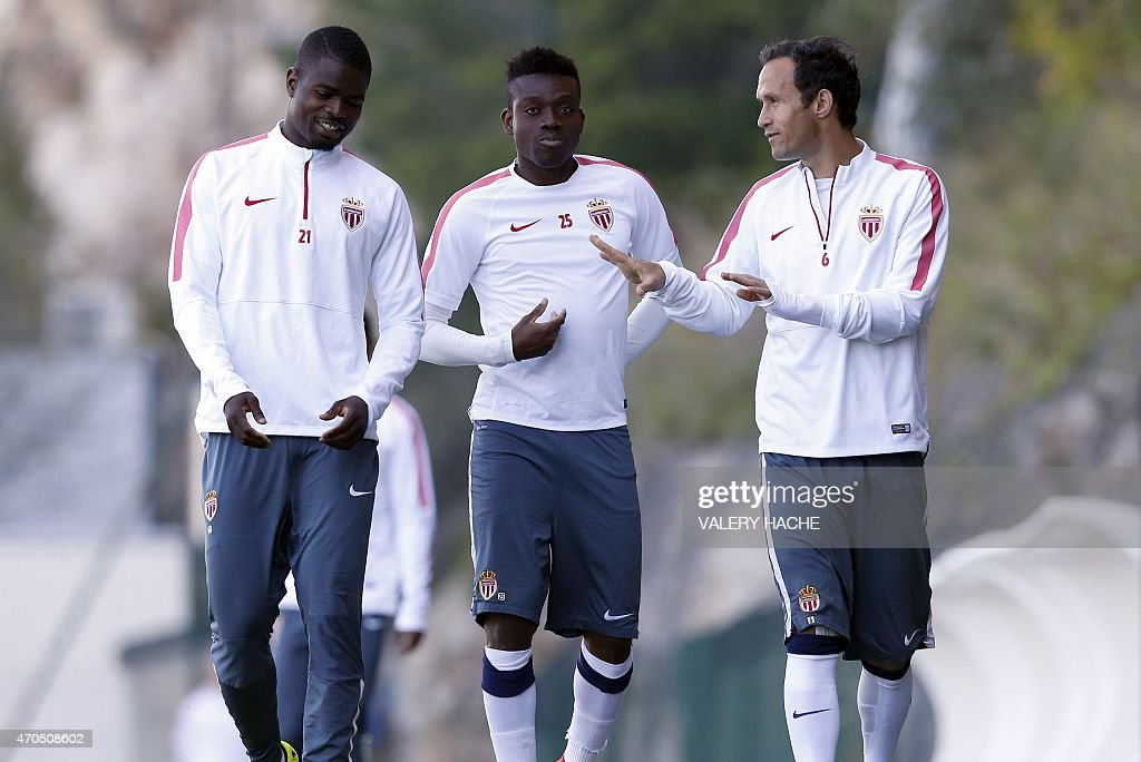Monaco's Nigerian defender <a gi-track='captionPersonalityLinkClicked' href=/galleries/search?phrase=Elderson&family=editorial&specificpeople=7148791 ng-click='$event.stopPropagation()'>Elderson</a> Echiejile (L) Monaco's Burkinian midfielder <a gi-track='captionPersonalityLinkClicked' href=/galleries/search?phrase=Alain+Traore&family=editorial&specificpeople=4146262 ng-click='$event.stopPropagation()'>Alain Traore</a> (C) and Monaco's Portuguese defender <a gi-track='captionPersonalityLinkClicked' href=/galleries/search?phrase=Ricardo+Carvalho&family=editorial&specificpeople=209354 ng-click='$event.stopPropagation()'>Ricardo Carvalho</a> arrive for a training session on April 21, 2015 in La Turbie, near Monaco, on the eve of the UEFA Champions League quarter final football match Monaco vs Juventus.