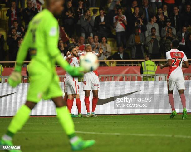 Monaco's players celebrate after scoring a goal during the French L1 football match between Monaco and Lille at the Louis II Stadium in Monaco on May...