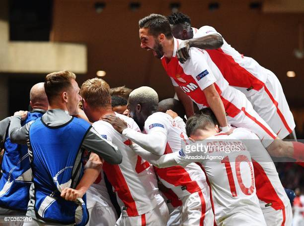 Monaco's players celebrate after the UEFA Champions League quarter final second leg soccer match between AS Monaco and Borussia Dortmund at Stade...