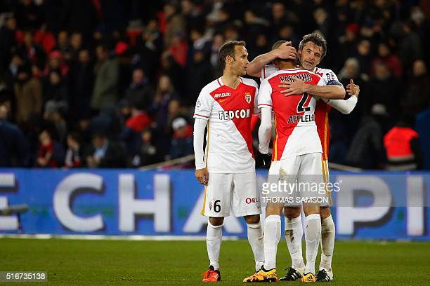 AS Monaco's players celebrate at the end of the French L1 football match between Paris SaintGermain and AS Monaco at the Parc des Princes stadium in...