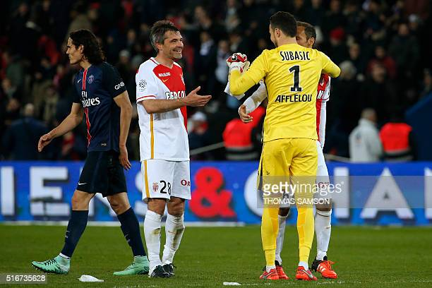 Monaco's players celebrate at the end of the French L1 football match between Paris SaintGermain and AS Monaco at the Parc des Princes stadium in...